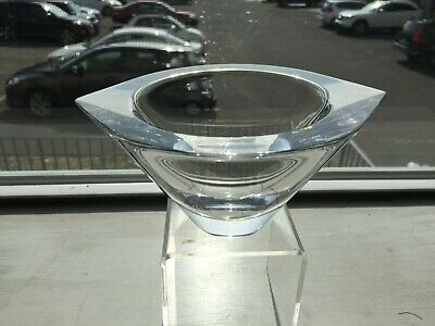 Vintage Sleek Mid Century Modern Signed ORREFORS Crystal Glass TEARDROP Bowl