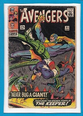 """Avengers #31_August 1966_G/vg_Captain America_""""never Bug A Giant""""_Silver Age!"""
