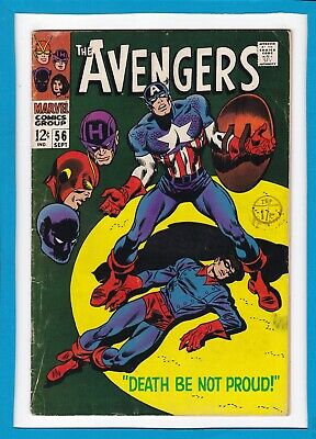 """Avengers #56_September 1968_Fine+_""""death Be Not Proud""""_Silver Age Marvel!"""