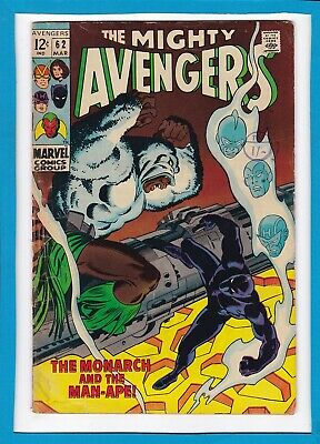 """Avengers #62_March 1969_Vg Minus_Black Panther_""""monarch And The Man-Ape""""!"""