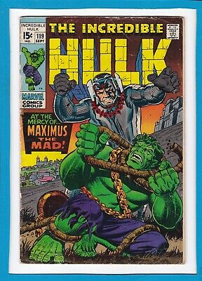 """Incredible Hulk #119_September 1969_Vg+_""""at The Mercy Of...maximus The Mad""""!"""