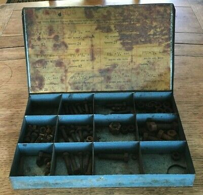 Vintage Roadhog, Mechanics, Blue Metal Tool Kit Box - Nuts and Bolts, Storage
