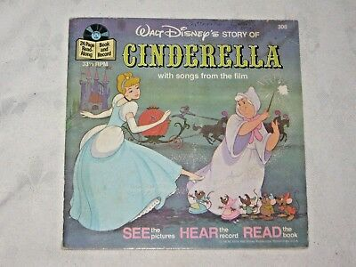 A Vintage 1977 Walt Disney Cinderella 33 1/3 rpm Children's Book & Record No 308