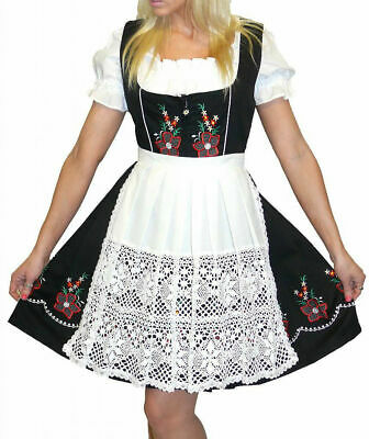 DIRNDL Oktoberfest German Party EMBROIDERED Dress Black Swing Waitress 3 Pieces