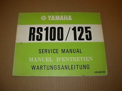 Yamaha RS100 RS125 Motorcycle Service Manual , issued 1974