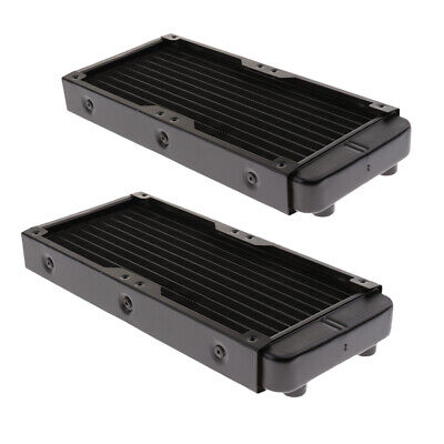 2x 240mm Computer Radiator Water Cooler for CPU Heat Sink 10Pipes Screw