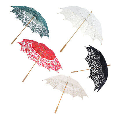 Womens Fashion Lace Parasol Embroidery Wedding Bridal Umbrella Photo Props