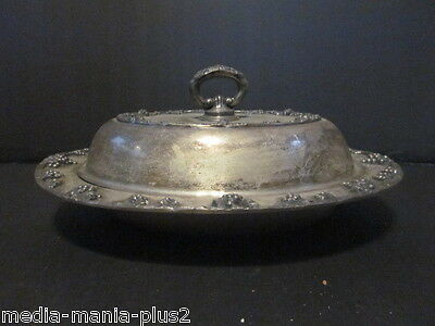 Antique Silver Plated Oval Covered Serving Bowl Grape Design