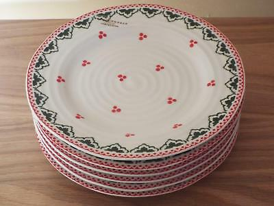 "SET OF 6 Portmeirion Sophie Conran 8"" SALAD PLATES Christmas Xmas Red & Green B"