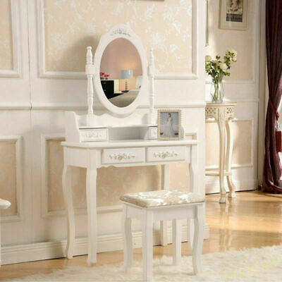 Cool Dressing Table Makeup Vanity Desk Stool Set Oval Mirror 4 Gmtry Best Dining Table And Chair Ideas Images Gmtryco