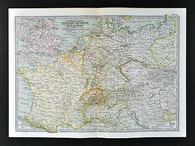1902 Century Atlas Travel Map - Central Europe France Germany Austria Holland