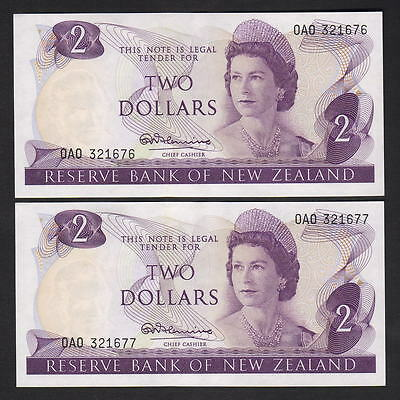 New Zealand  P-164a. (1967-68) $2 - Fleming. 1st Pre OAO.  aU-UNC CONSEC Pair