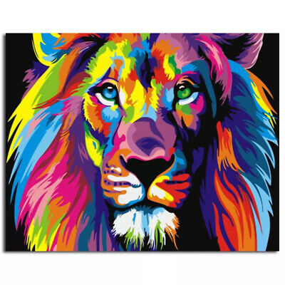 DIY Colorful Animal Paint By Number Kit Acrylic Oil Painting Art Wall Home Decor