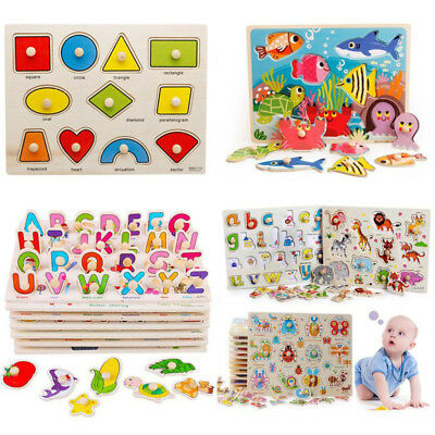 Kids Toddler Wooden Puzzle Jigsaw Baby Alphabet Letters Animal Educational Toys