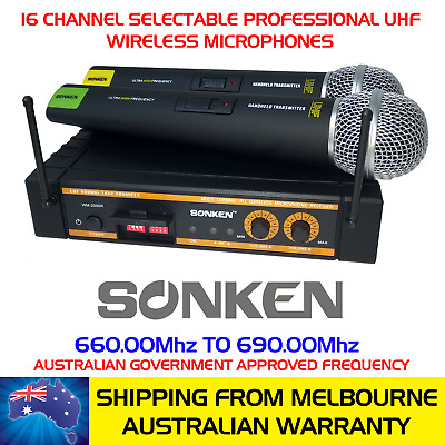 Sonken 2000R 16 Channel Pro Uhf Wireless Microphones + Carry Case