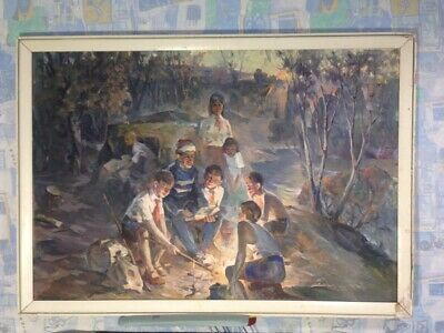 Oil painting on canvas Socialist Realism of the USSR 1982, artist Katynin D.S. w