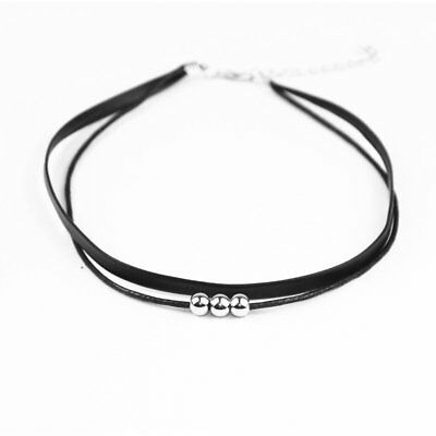 Fashion Beads Black Double Leather Choker Necklace Necklace Women Jewelry Party