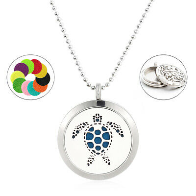 1set 25mm Stainless Steel Turtle Aromatherapy Diffuser Locket Pendant + Necklace