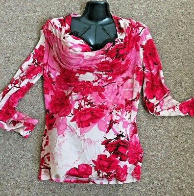 TED BAKERBlack Kensington Floral Print Cold Shoulder Top Size 16//5