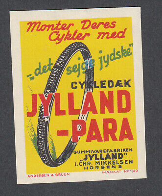 Denmark Poster Stamp  A&B  JYLLAND PARA BIKE BICYCLE TIRE HORSENS