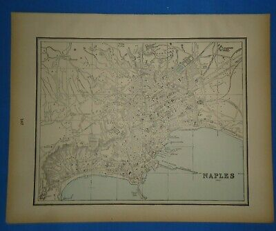 Vintage 1893 NAPLES, ITALY Map ~ Old Antique Original Atlas Map 22319