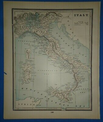 Vintage 1893 ITALY Map ~ Old Antique Original Atlas Map 22319