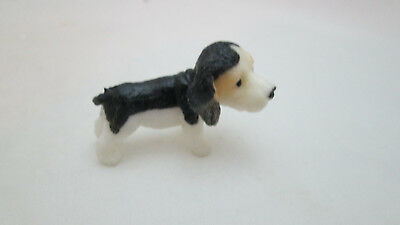 Dollhouse Miniature Rubber Dog - Black & White Puppy