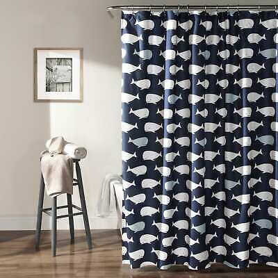 Taylor & Olive Lums Navy Whale Shower Curtain