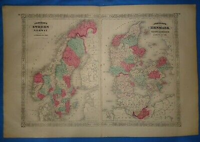 Vintage 1869 SWEDEN - NORWAY - DENMARK Map Old Antique Original Johnson's Atlas
