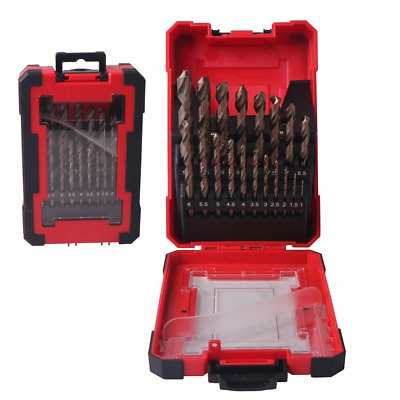 DRILLFORCE 19PCS HSS M35 Cobalt Drill Bit for Hardened Metal & Stainless Steel