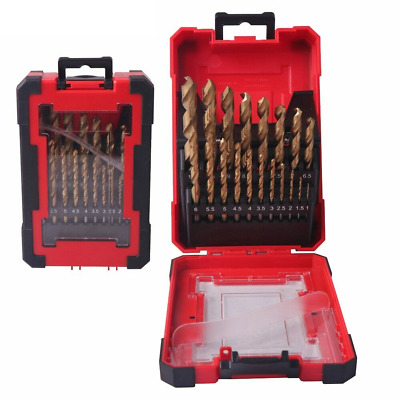 DRILLFORCE 19PCS HSS M2 Titanium Coated Drill Bit for Metal Woodworking