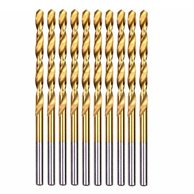 10PCS/Set 5mm Twist Spiral Drill Bit Set HSS Fully Ground DIN338 Titanium