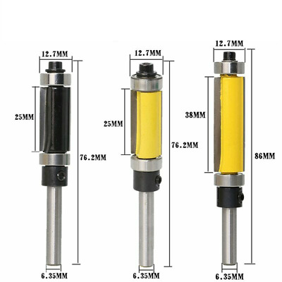 Flush Trim Router Bit Top & Bottom Bearing 1/4'' Shank Milling Cutters Trimming