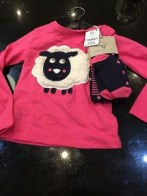 BNWT NEXT GORGEOUS Girls Cotton Pink Fluffy Sheep Top and Tights Set 4-5 years