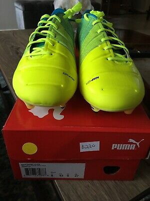 afd939d6f338 PUMA EVOPOWER 1.3 Fg Mens White Leather Athletic Soccer Cleats Shoes ...