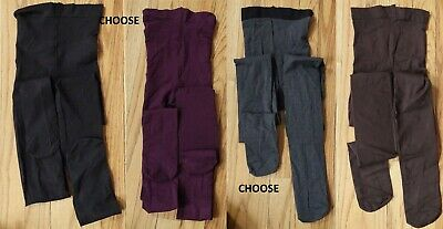 HUE Dense solid  black/gray/purple or brown opaque tights, size S/M or M/L