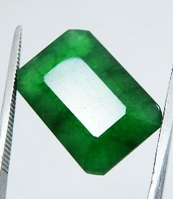 13.75 Cts Natural Certified Emerald Cut Colombian Emerald Loose Gemstone RK515 L