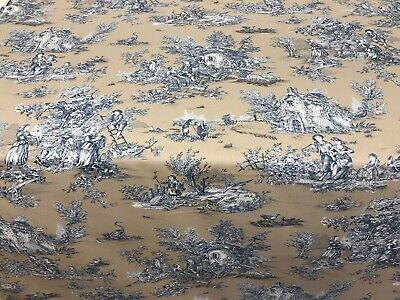 "Toulouse Toile Beige/ Blue  Cotton 280cm/108"" Wide Curtain/ Upholstery Fabric"