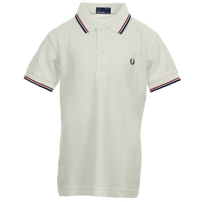 bc33fe28613 Vêtement Polos Fred Perry unisexe Kids Twin Tipped Shirt taille Blanc Coton