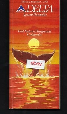 Delta Airlines System Flugplan 9-1-1991 497 Pages-Route Maps-California
