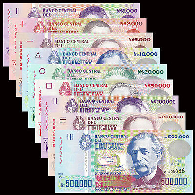 Uruguay set 9 PCS, 1000-500000 Pesos, 1989-1992, Serial A, UNC