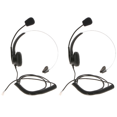 4 WIRE RJ9 Call Center Corded Operator Telephone Mic Headset