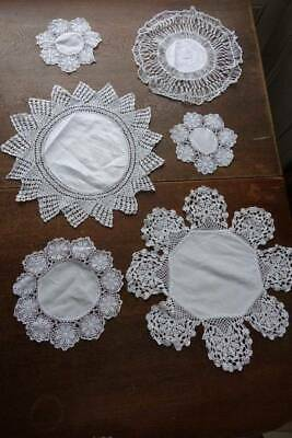 Six vintage white Irish linen doilies or table mats - hand worked lace edges.#E