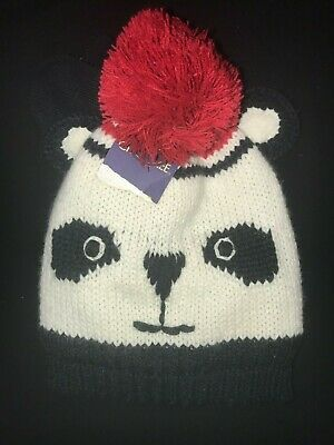 303adc5854b8c boys or girls NEW NWT size 2T to 5T PANDA KNIT WINTER HAT MATCHING MITTENS  glove