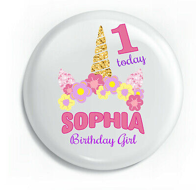 Personalised Unicorn Floral Style Birthday Metal Pin Badge