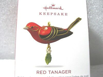 2018 Hallmark Miniature RED TANAGER mini Complements Beauty of the Bird Series