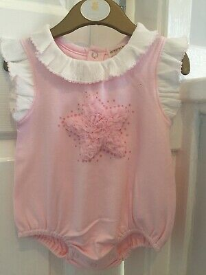 14083c436e27 Mintini Baby Girls Romper With Ruffled Star And Frilly Collar. Size 3 Months