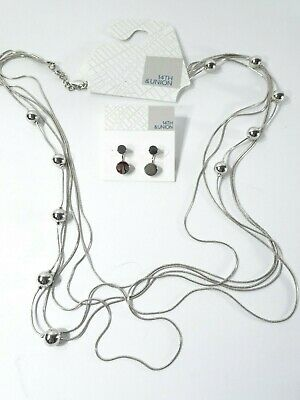ef4695481 Nordstrom Rack 14th & Union Ball Station Necklace Two Way Stud Earrings Set  ...