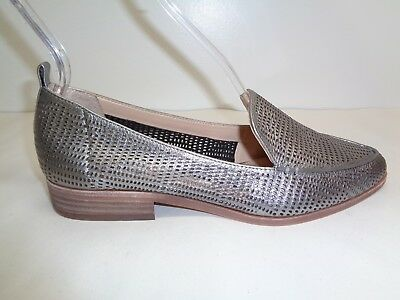 551784f7026 Vince Camuto Size 8.5 M KADE Silver Perforated Leather Loafers New Womens  Shoes