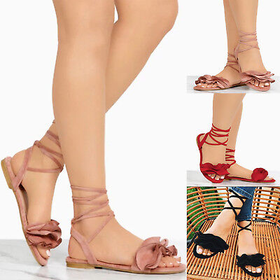 5432fd031aa Womens Gladiator Strap Peep Toe Flower Casual Sandals Lace Up Flat Heels  Shoes